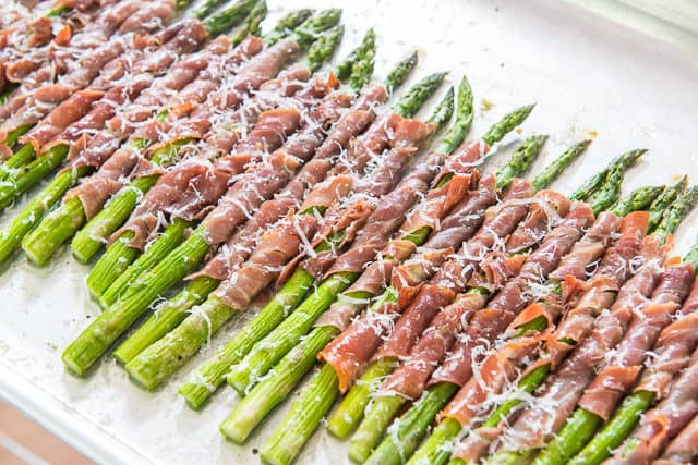 Asparagus Prosciutto - On a Sheet Pan with Grated Parmesan On Top
