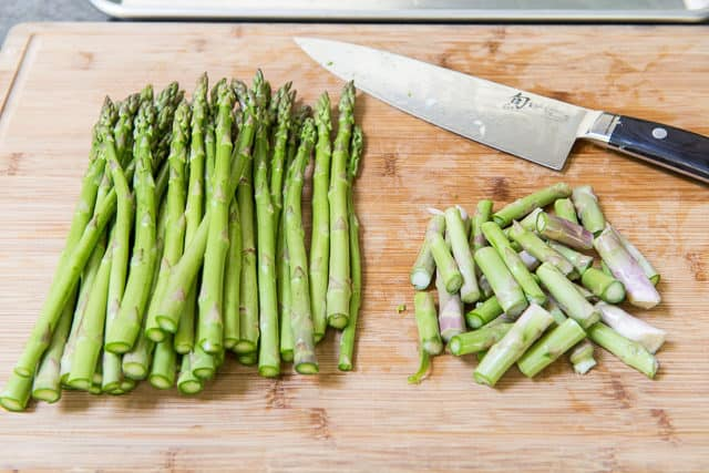 Asparagus Spears on Cutting Board with Ends Chopped Off