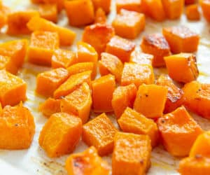 Roasted Butternut Squash On a Sheet Pan in Cubes