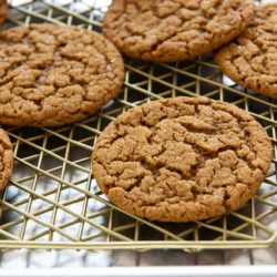 Molasses Cookies On a Gold Wire Rack