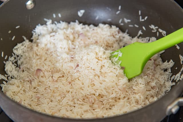 Jasmine Rice Pilaf - In Nonstick Pan with Green Spatula