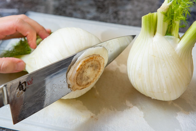 Cutting Bottom from Fennel Bulb