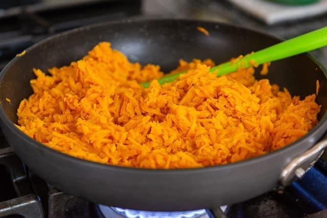 Cooking Sweet Potato Rice in Nonstick Skillet