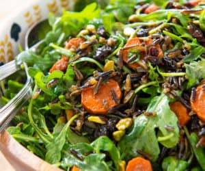 Wild Rice Salad - In Bowl with Carrots and Pistachios