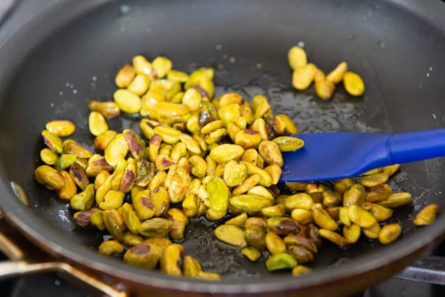 Toasted Pistachios in a Skillet