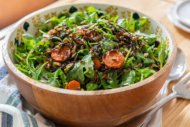 Wild Rice Salad Recipe - Presented in Wooden Decorated Bowl