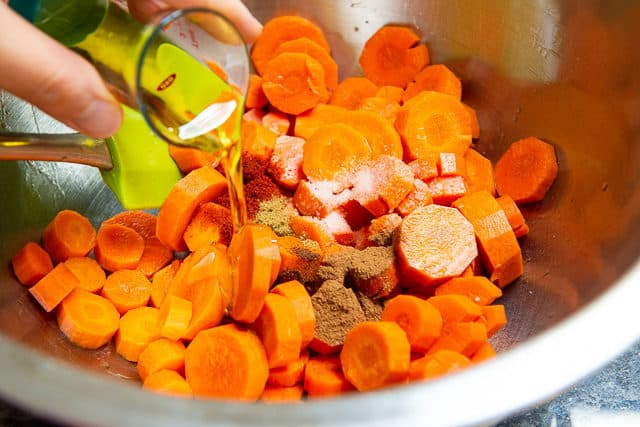 Carrot Coins with Oil and Spices Added