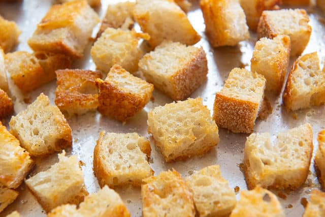 Fresh Croutons Baked on Sheet Pan with Golden Color