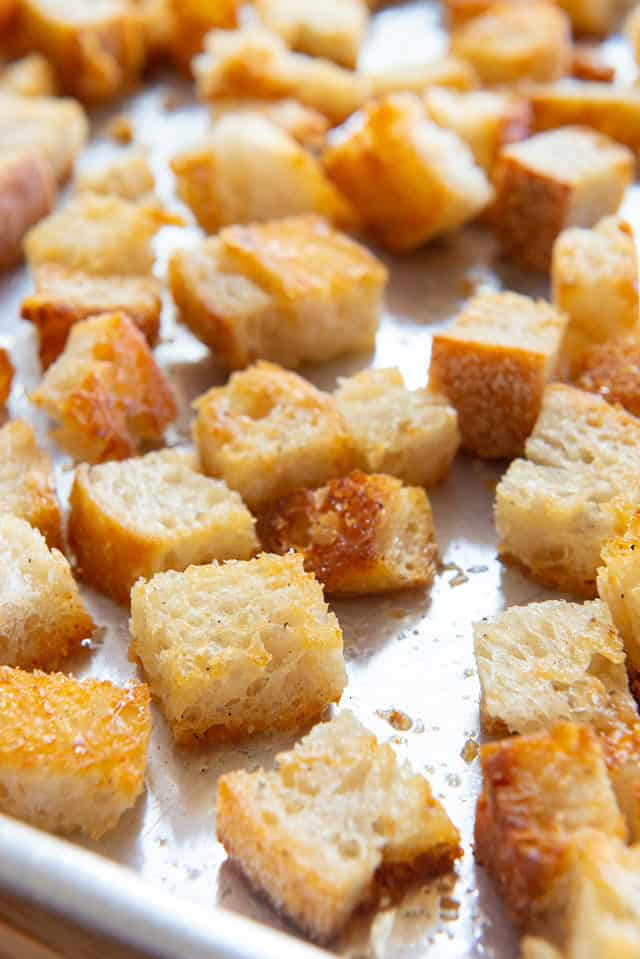 Croutons - On a Sheet Pan with Cubes of Golden Bread