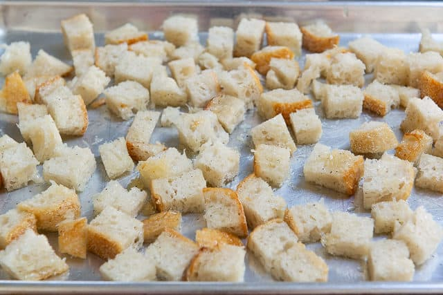 Homemade Croutons Recipe - Unbaked on a Sheet Pan before Browning