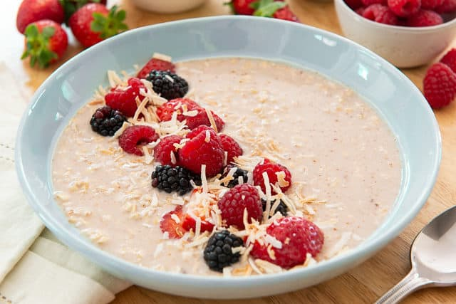 Overnight Oats Recipe - Garnished with Fresh Berries and Coconut
