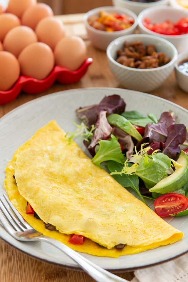 Egg Omelet - On a Plate with Side Salad