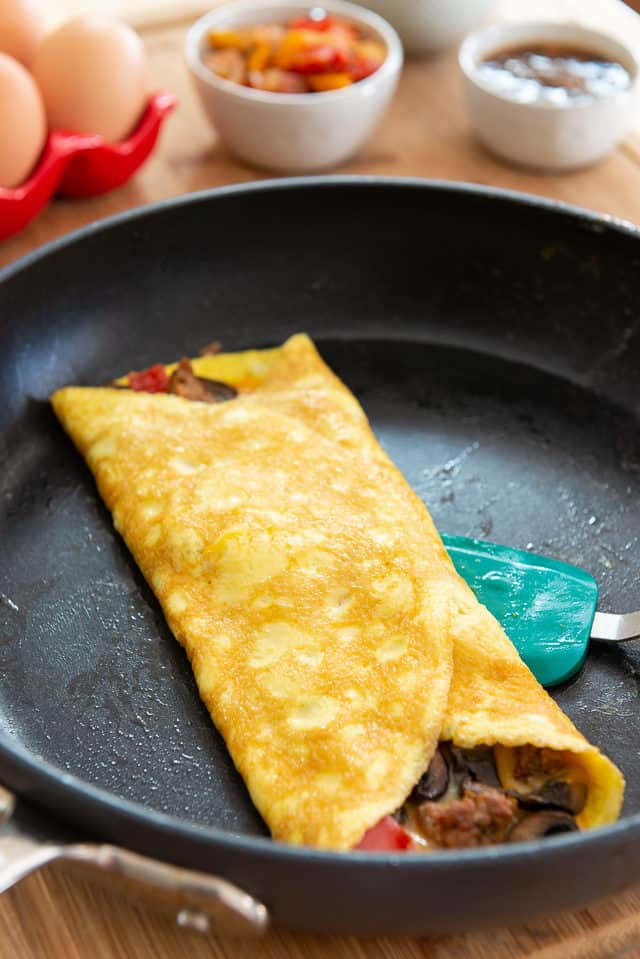 Omelette Recipe - Served in Skillet Folded Like a Letter