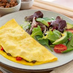 Omelette On a Plate with Side Salad
