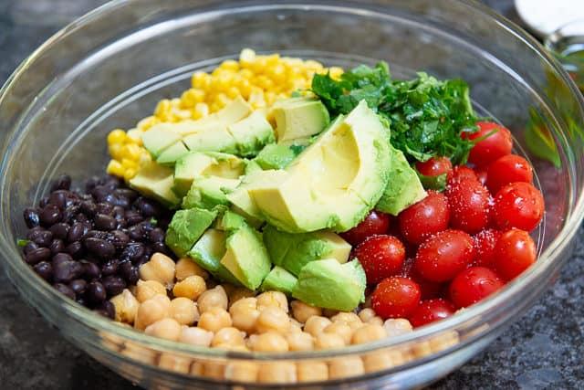Corn, Beans, Avocado, Tomato in Glass Mixing Bowl