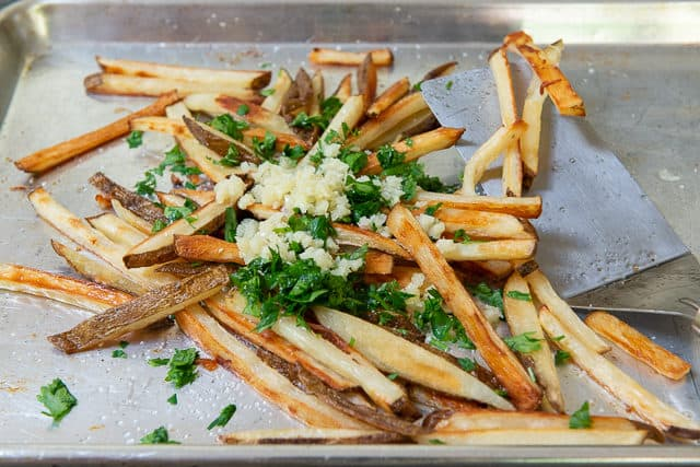 Crispy Oven Fries - On Sheet Pan with Minced Garlic and Parsley