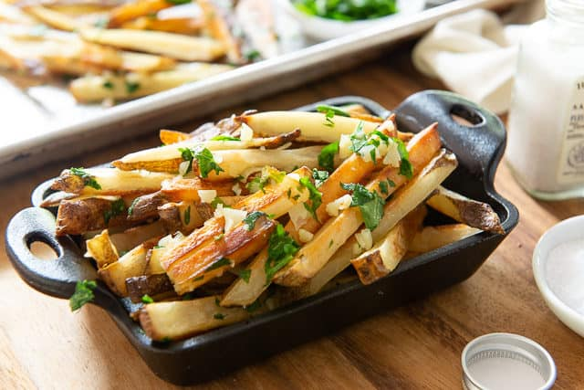 Garlic Fries - In cast Iron Dish with Garlic and Parsley