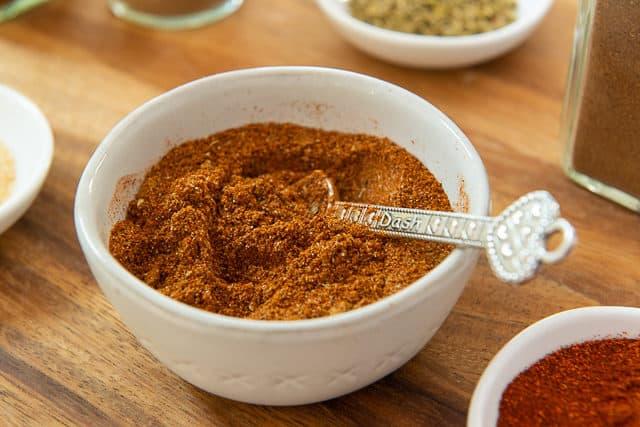 Beef Taco Seasoning - in White Bowl with Teaspoon
