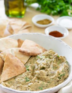 Baba Ganoush - Served in a White Bowl with Pita Wedges