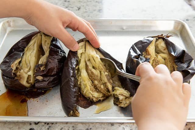 Removing Eggplant Meat from Baked Eggplant