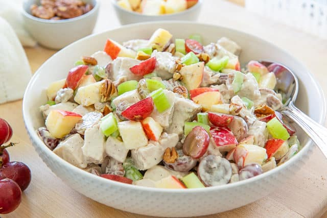 Chicken Waldorf Salad - Made with Halved Red Grapes, Red Apple, Celery, and Toasted Pecans