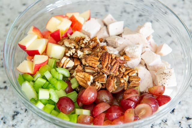 Waldorf Chicken Salad Recipe - Combine Fruit, Nuts, Celery, and Dressing in a Big Bowl and Toss!