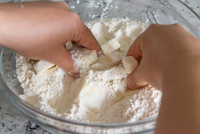 Rubbing Butter Into Dry Ingredients with Fingers
