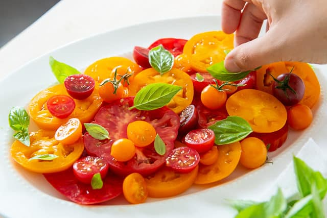 Tomato Basil Salad - Heirloom Tomatoes