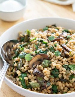 Barley Plated In White Bowl with Mushrooms, Herbs, and Spinach