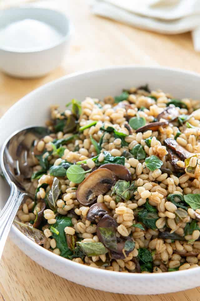 Barley - Plated In White Bowl with Mushrooms, Herbs, and Spinach