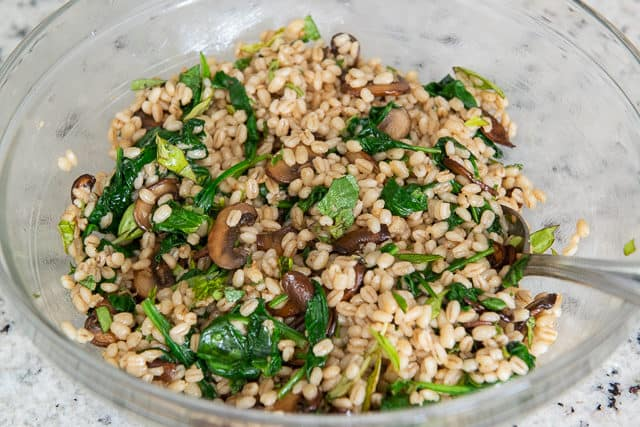 Cooked Pearl Barley Mixed with Wilted Spinach and Mushrooms in Bowl