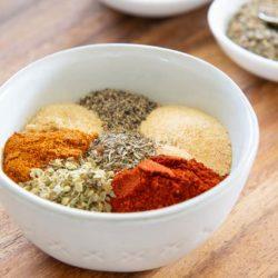 Cajun Seasoning Spices in White Bowl