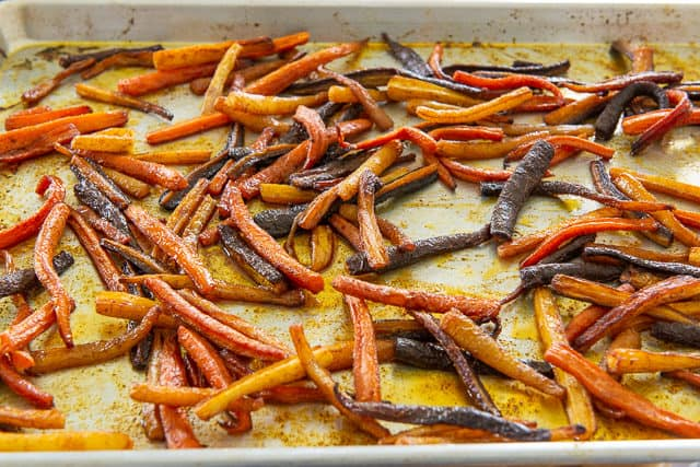 Roast Carrots on a Sheet Pan, Having Cooked About 30 minutes at 400F