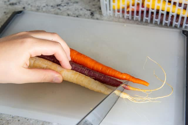 Trimming and Cleaning Organic Rainbow Carrots