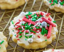 A close up of Sugar Cookie with Christmas Sprinkles