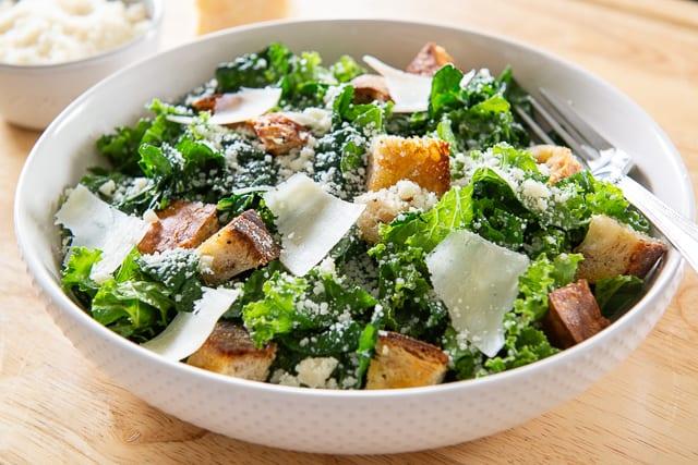 Kale Caesar - Easy Salad Recipe with Parmigiano Reggiano and Croutons