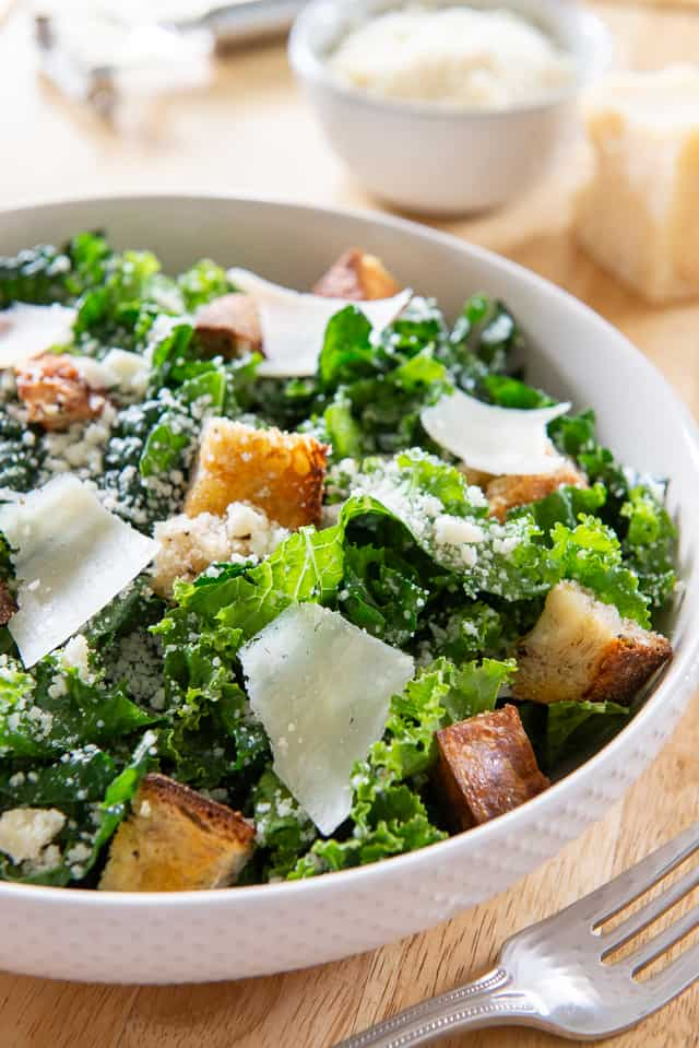 Kale Caesar Salad - With Homemade Scratch Dressing and Homemade Croutons