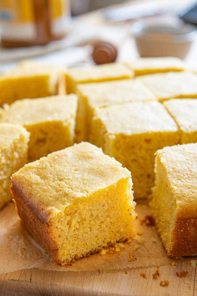 Cornbread Recipe - Made with Real Buttermilk and Organic Cornmeal and Cut Into Squares