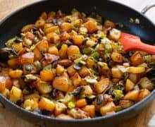 Potato Hash - Chunks of Russet Potatoes with Sliced Mushrooms, Leeks, and Bacon