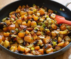 Potato Hash - Chunks of Russet Potatoes with Sliced Mushrooms, Leeks, and Bacon