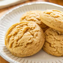 Four Peanut Butter Cookies On A Plate