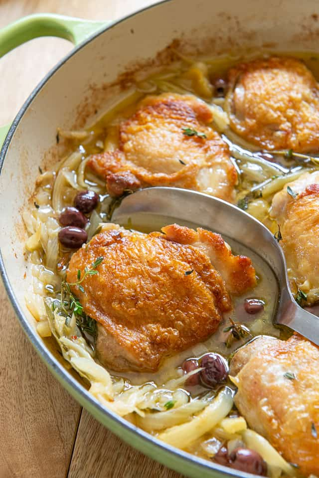 Braised Chicken Thighs - With Metal Spoon in Green Braiser