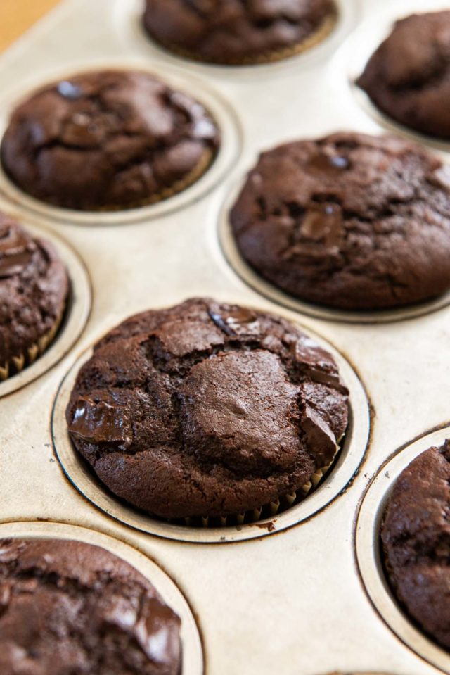 Double Chocolate Muffins - Sitting in a Muffin Tin Freshly Baked