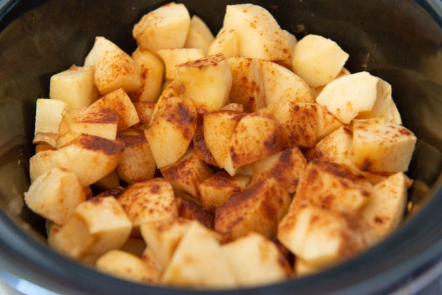 Partially Cooked Apple Chunks in Slow Cooker with Cinnamon