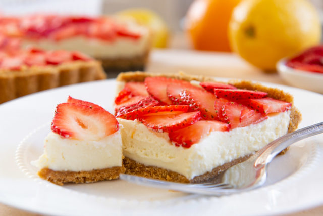 Slices of Strawberry Tart on a Plate with Homemade Graham Cracker Crust