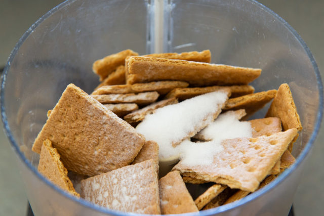 Graham Cracker Pieces in a Food Processor with Sugar