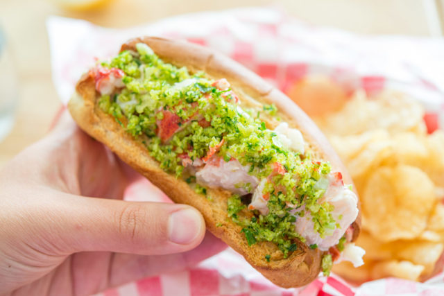 Lobster Roll Recipe - with Herb Potato Chips Sprinkling On Top