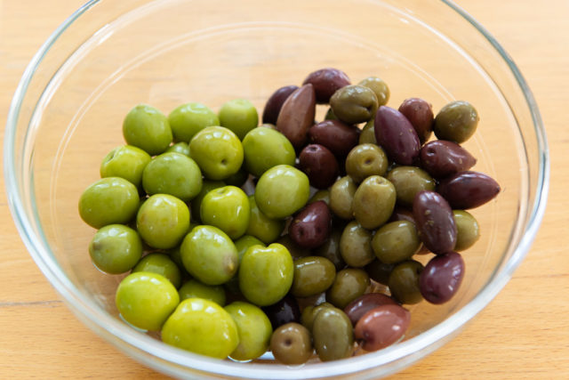 Castelvetrano Olives and Greek Olive Mix in Glass Bowl