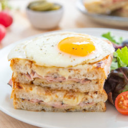 Croque Madame Sandwich on Plate with Salad