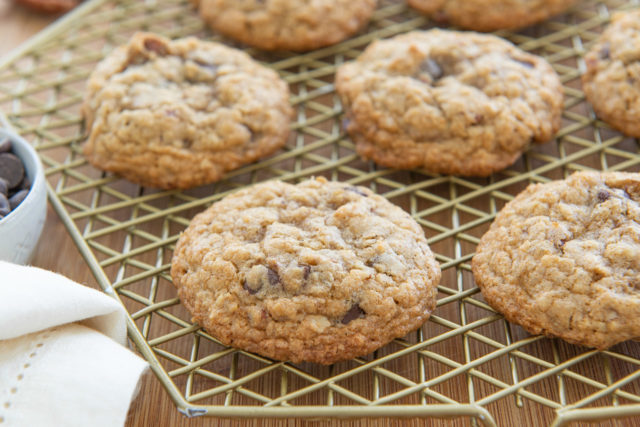 Oatmeal Chocolate Chip Cookie Recipe - Shown on a Gold Wire Rack with napkin